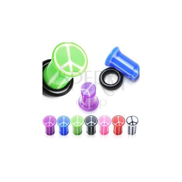 UV Ohrplug mit Friedenssymbol, Marmoroptik und Gummiring