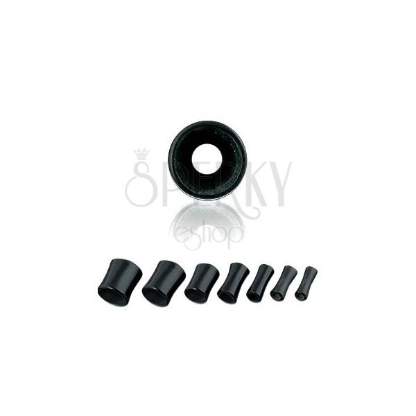 Ohrtunnel - schwarz, Sattelform, Marmoroptik