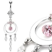 Luxuriöser belly ring mit strahlendem Ring und Zirkon