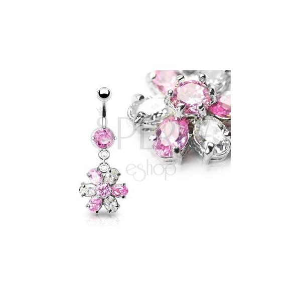 Luxuriöses Bauchpiercing - Blume, rosa klarer Zirkonia