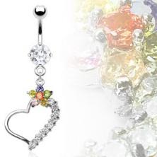 Luxuriöses Bauchpiercing - Herz mit bunter Blume