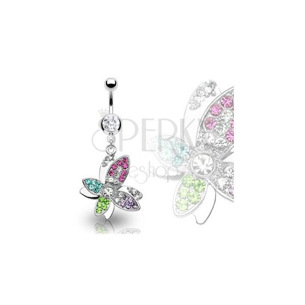 Luxuriöser Stahl Belly Ring mit bunter Zirkonblume