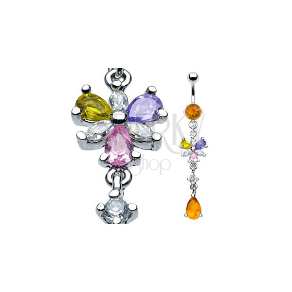 Luxuriöser belly ring mit 6 bunten Zirkonen