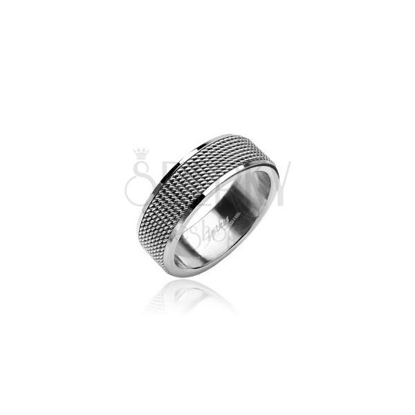 Ring aus Chirurgenstahl mit Kette, polierte Kanten