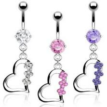 Titanbauchpiercing - Herz mit drei Blumen