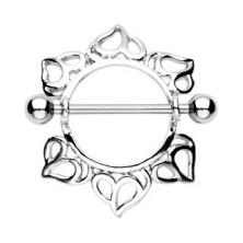 Brustwarzenpiercing - Hantel mit Kugeln, Blume mit geschnitzten Blütenblättern, 2 Stücke