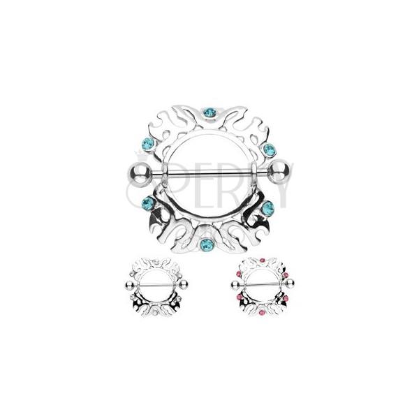 Brustwarzenpiercing - Ornamente mit Zirkon - 2 Stück