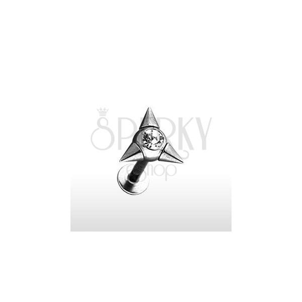 Labret Piercing aus Edelstahl mit drei Spitzen und Zirkonia