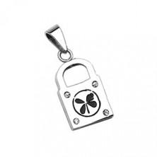 Edelstahlanhänger - Schlüssel & Schloss mit Glücksklee