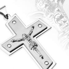 Edelstahlanhänger in Kreuzform - gekreuzigter Jesus