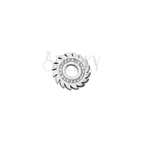 Anhänger Zahnrad aus rostfreiem Stahl - Zirkonia Kreis