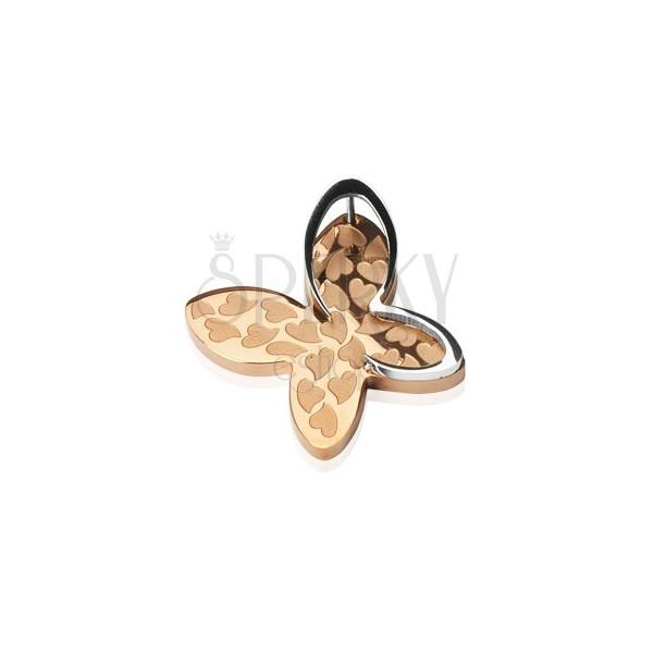 Goldener Anhänger aus Edelstahl - Schmetterling mit Herzchen
