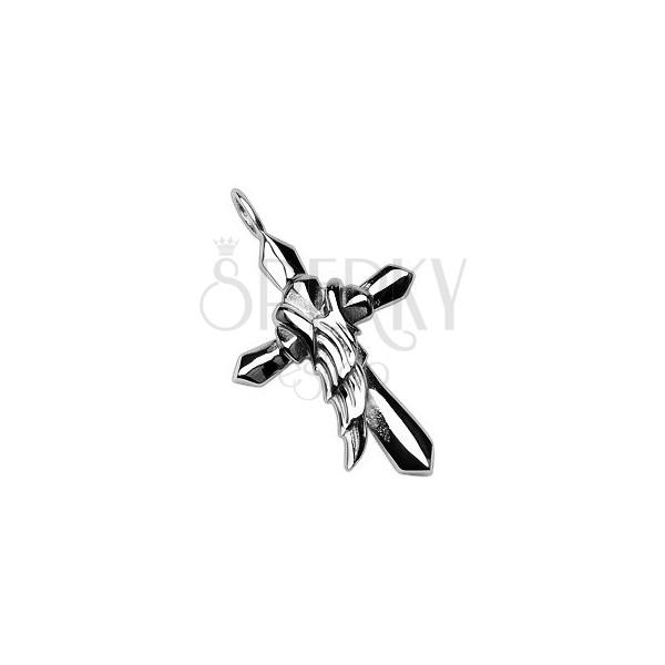 Stahl Anhänger in silberner Farbe - Kreuz mit Engelflügel