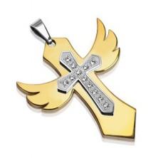 Goldener Anhänger mit Flügeln und Zirkonia Kreuz