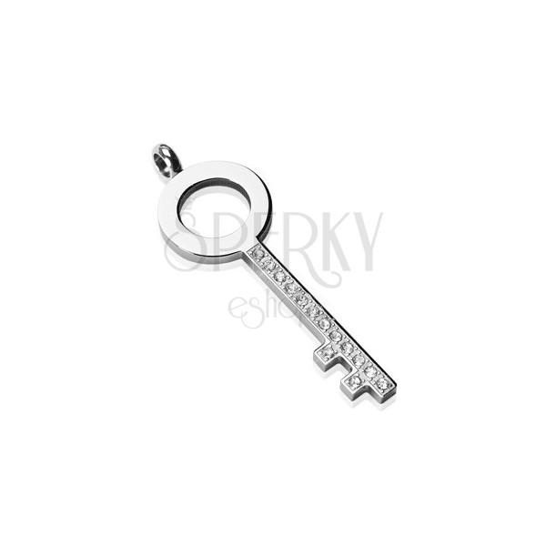 Edelstahlanhänger - Zirkonia Schlüssel