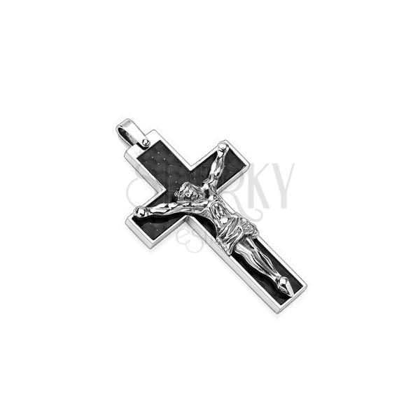 Edelstahlanhänger - schwarzes Kreuz mit Jesu Christi