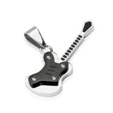 Kettenanhänger - silber schwarze Gitarre