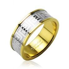 Ring aus Chirurgenstahl in goldener Farbe mit einer Einlage in silberner Farbe
