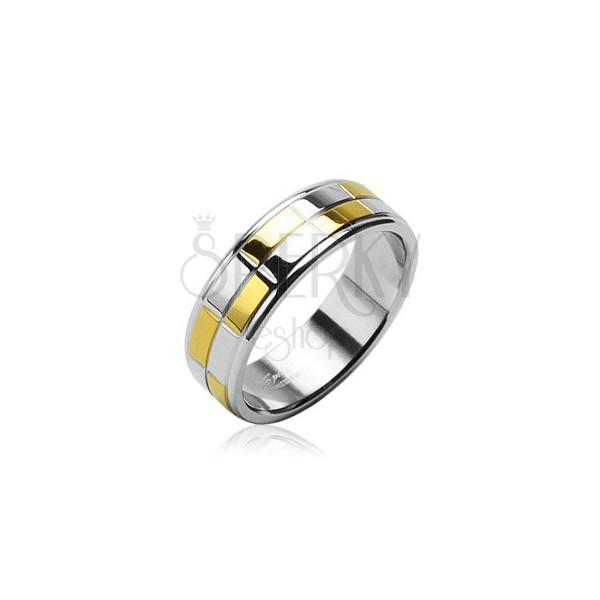 Ehering aus Edelstahl mit glänzenden Rechtecken in Gold und Silber