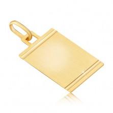 Anhänger aus Gold - glanzlose Platte mit glänzenden Riefen