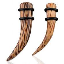 Ohrexpander - natürliches Kokosnußdesign, gebogen