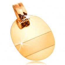 Anhänger aus 14K Gold - glänzende ovale Platte mit glanzlosen Streifen