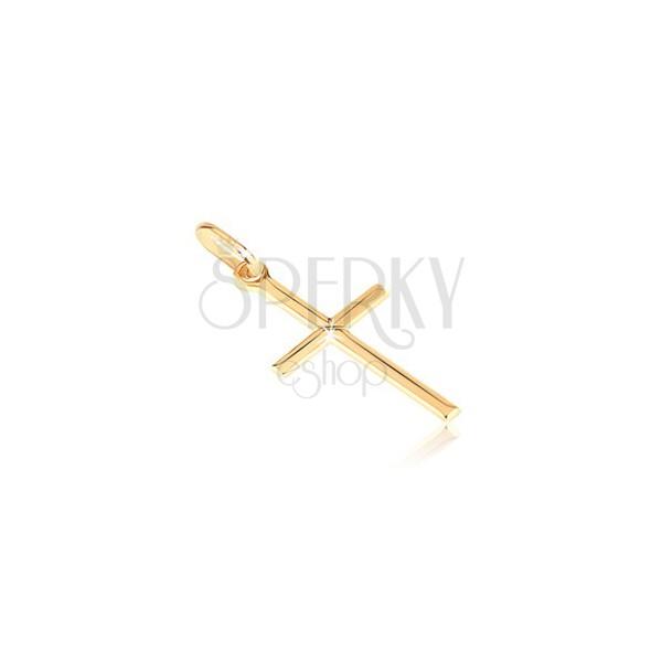 Goldener 14K Anhänger - kleines glänzendes Kreuz mit graviertem X