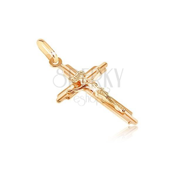 Goldener Anhänger - Kreuz mit ausgehöhlten Spitzen, Jesus, plastisch