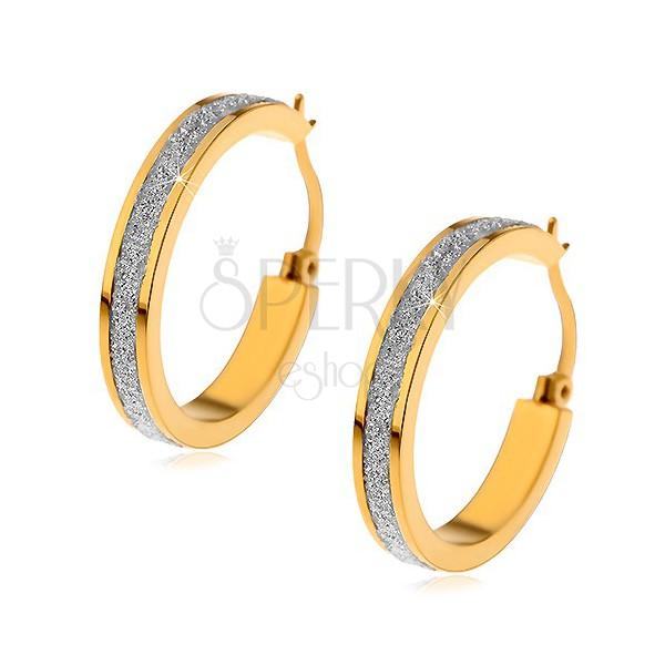 Ohrringe aus Chirurgenstahl in goldener Farbe, glitzernder Sandstreifen