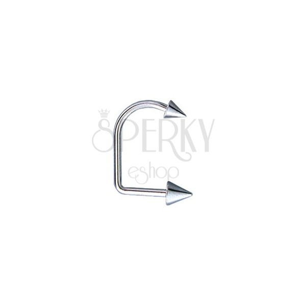 Lippenpiercing - Lip Hoop mit zwei Spitzen 4 / 5 mm