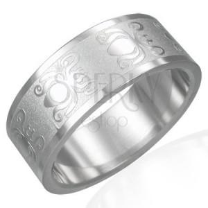 Silberner Ring aus Edelstahl mit Käfermuster