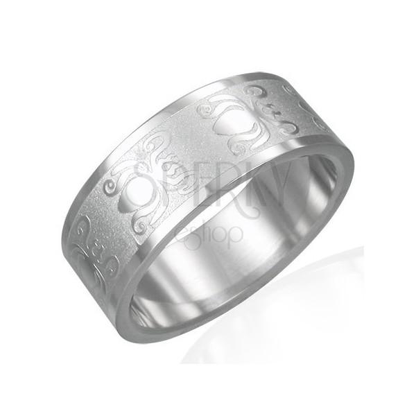 Ring aus 316L Stahl mit matt-glänzender Oberfläche - Käfer, 8 mm