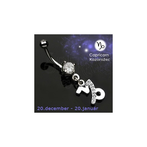 Zodiac belly button ring - Steinbock