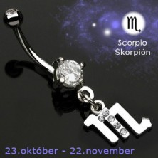 Zodiac belly button ring - Skorpion