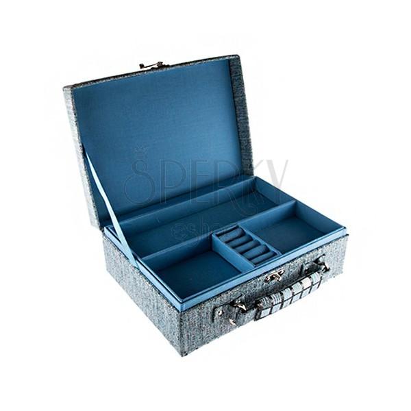 Kofferschmuckkästchen blauer Farbe, Vierecke, Halter ...