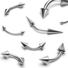 Stahl Augenbrauenpiercing - zwei glänzende spitze Stacheln
