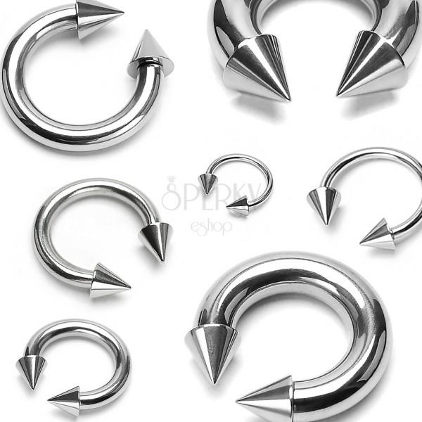 Piercing aus Chirurgenstahl in silberner Farbe - Hufeisen in Stacheln endend