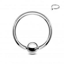 Stahl Piercing - Kreis und Kugel in silberner Farbe, Breite 1,6 mm