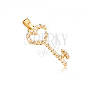 Goldener Anhänger - herzförmiger Schlüssel mit klaren Zirkonen