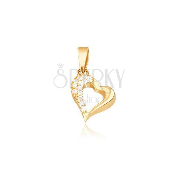 14K goldener Anhänger - Kontur des unregelmäßigen Herzens, Zirkone