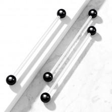 Flexibles Körper Piercing - transparente Hantel mit glänzenden Kugeln in schwarzer Farbe