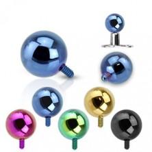 316L Stahl Implantatkugel - eloxierte Oberfläche, verschiedene Farben, 3 mm
