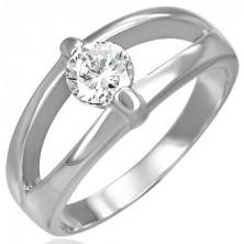 Ring aus Chirurgenstahl mit geteilter Mitte und klarem Stein