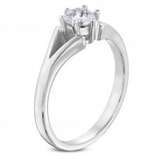 Edelstahlring zu Verlobung in silberner Farbe - geteilte Ringschiene, klarer Zirkonia