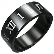 Schwarzer Ring mit braunen römischen Ziffern