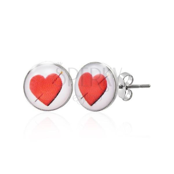 Ohrringe aus Edelstahl - durchbohrtes Herz