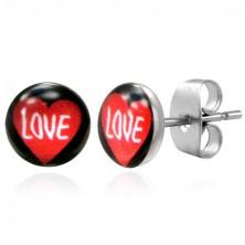 LOVE Ohrstecker aus Edelstahl schwarz mit rotem Herz