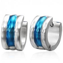 Silberne Ohrringe mit blauer Einlage
