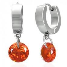 Ohrringe Kreise mit hängendem orange Stein