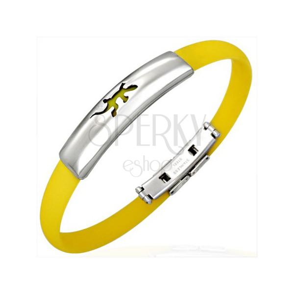 Leuchtend gelbes Armband aus Gummi - Motiv Eidechse